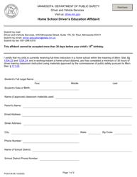 "Form PS33135 ""Home School Driver's Education Affidavit"" - Minnesota"