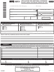 "Form NYC-EXT.1 ""Application for Additional Extension"" - New York City, 2020"