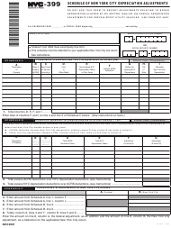 "Form NYC-399 ""Schedule of New York City Depreciation Adjustments"" - New York City"