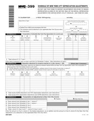 "Form NYC-399 ""Schedule of New York City Depreciation Adjustments"" - New York City"