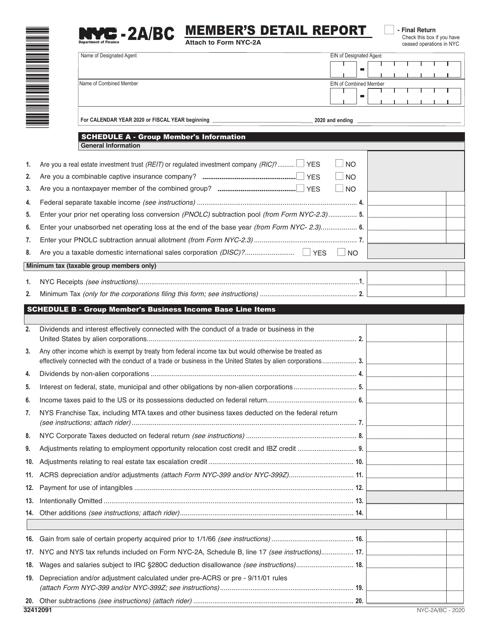 Form NYC-2A/BC Printable Pdf