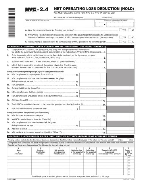 Form NYC-2.4 2020 Printable Pdf