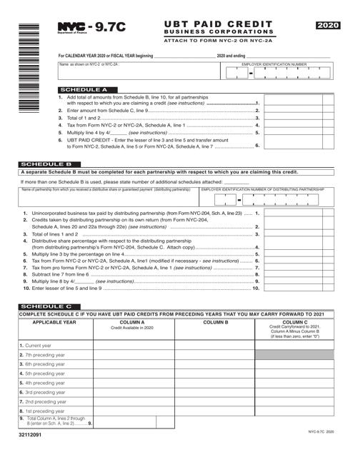 Form NYC-9.7C 2020 Printable Pdf