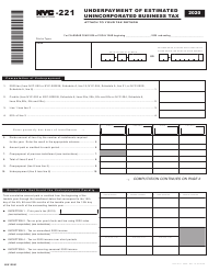 "Form NYC-221 ""Underpayment of Estimated Unincorporated Business Tax"" - New York City, 2020"