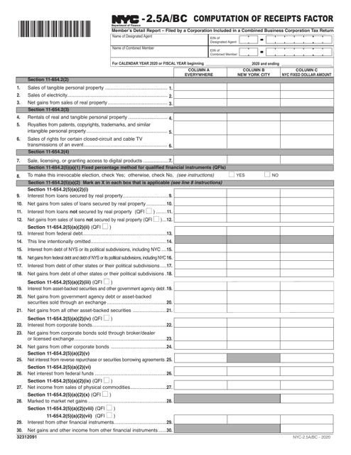 Form NYC-2.5A/BC 2020 Printable Pdf