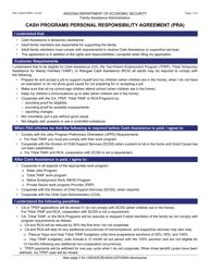 "Form FAA-1523A ""Cash Programs Personal Responsibility Agreement (Pra)"" - Arizona"