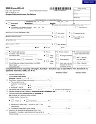 """Form OR-41 (150-101-041) """"Oregon Fiduciary Income Tax Return"""" - Oregon, 2020"""