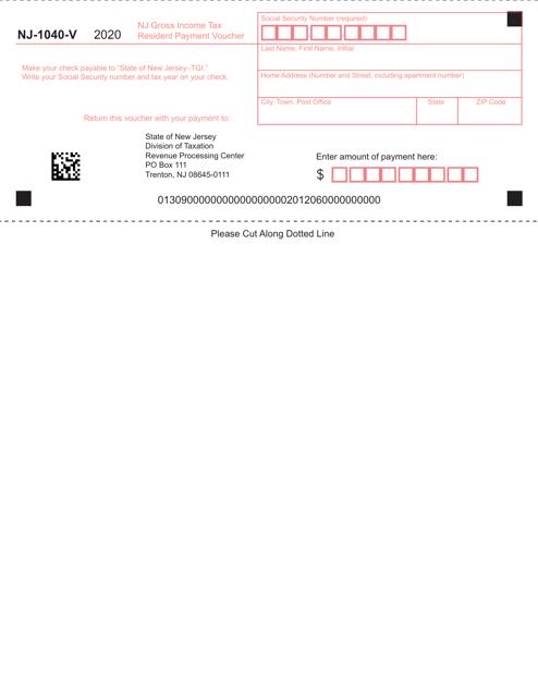 Form NJ-1040-V 2020 Printable Pdf