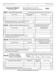"Form NJ-1040 Schedule NJ-BUS-1 ""New Jersey Gross Income Tax Business Income Summary Schedule"" - New Jersey"