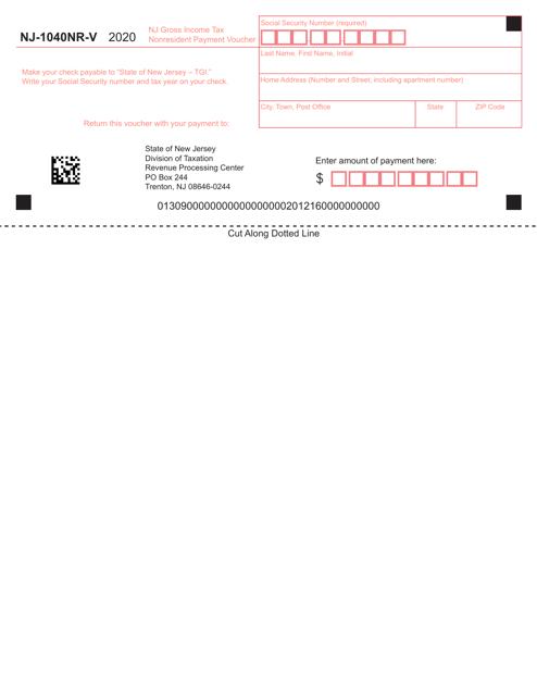 Form NJ-1040NR-V 2020 Printable Pdf