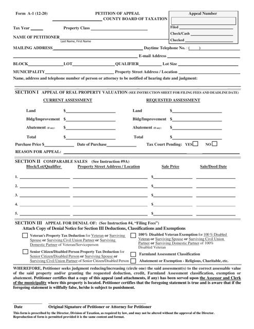 Form A-1 Printable Pdf