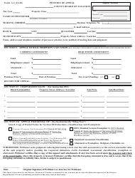 """Form A-1 """"Petition of Appeal"""" - New Jersey"""
