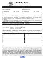"Form ADOR10834 ""Statement of Exemptions"" - Arizona, 2021"