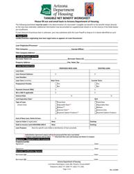 """""""Tangible Net Benefit Worksheet"""" - Arizona"""