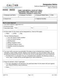 """Form CALHR753 """"Designation Notice"""" - California"""