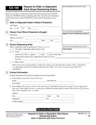 "Form EA-100 ""Request for Elder or Dependent Adult Abuse Restraining Orders"" - California"