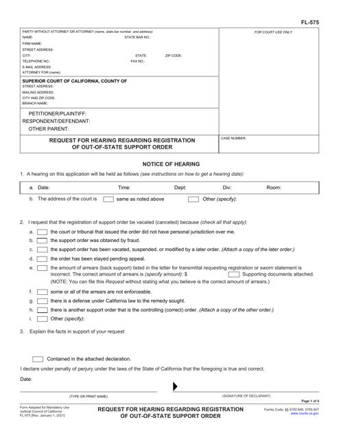 Form FL-575 Printable Pdf