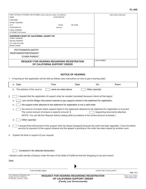 Form FL-445 Printable Pdf