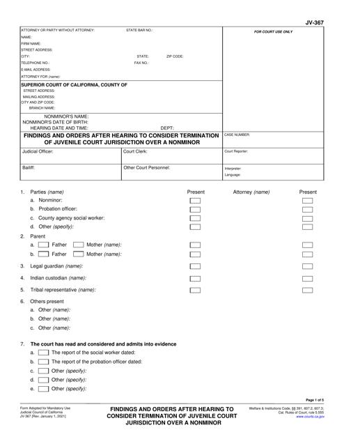 Form JV-367 Printable Pdf