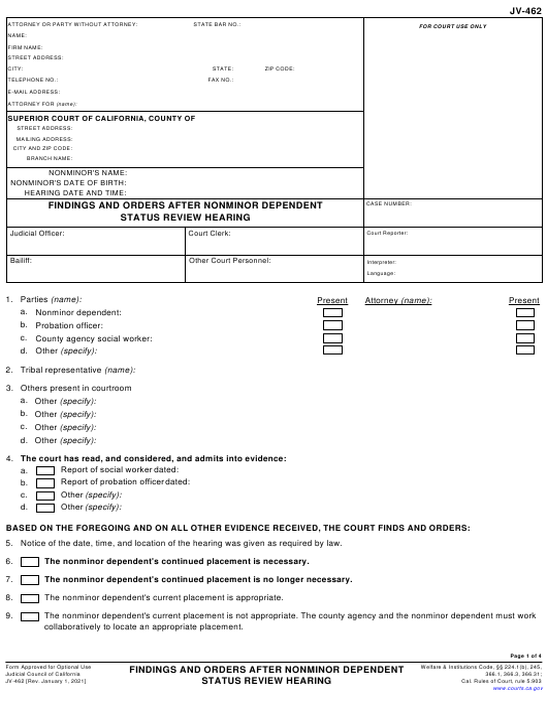 Form JV-462 Printable Pdf