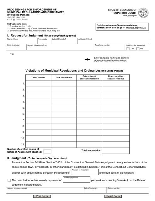 Form JD-CV-20 Printable Pdf