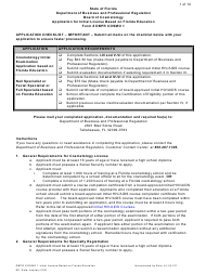 """Form DBPR COSMO1 """"Application for Initial License Based on Florida Education"""" - Florida"""