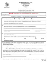 "Form CD227 ""Transmittal Information Form Georgia Corporation"" - Georgia (United States)"
