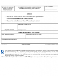 """Form 1F-P-1054 """"Request for Audio Compact Disc of Proceedings and Order"""" - Hawaii, Page 2"""