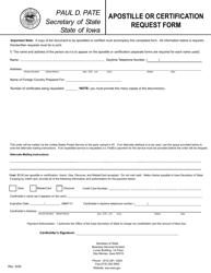 """Apostille or Certification Request Form"" - Iowa"