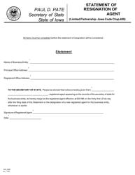 "Form 635_0988 ""Statement of Resignation of Registered Agent"" - Iowa"