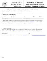 """""""Application for Approval to Perform Notarial Acts for Remotely Located Individuals"""" - Iowa"""