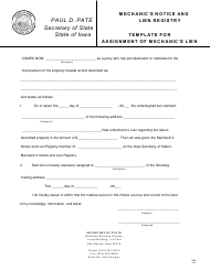 """Form AML """"Mechanic's Notice and Lien Registry - Template for Assignment of Mechanic's Lien"""" - Iowa"""