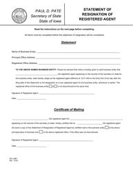 "Form 635_0987 ""Statement of Resignation of Registered Agent"" - Iowa"