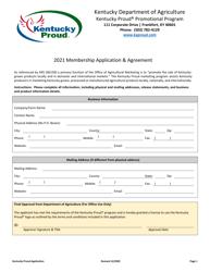 """Membership Application & Agreement"" - Kentucky, 2021"