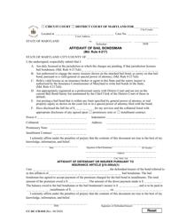 "Form CC-DC-CR-010 ""Affidavit of Bail Bondsman"" - Maryland"