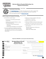"Form RW-1 ""Montana Mineral Royalty Withholding Tax Payment Voucher"" - Montana"
