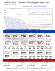 """""""Application for Military Honor/Reserve License Plates"""" - Nebraska"""