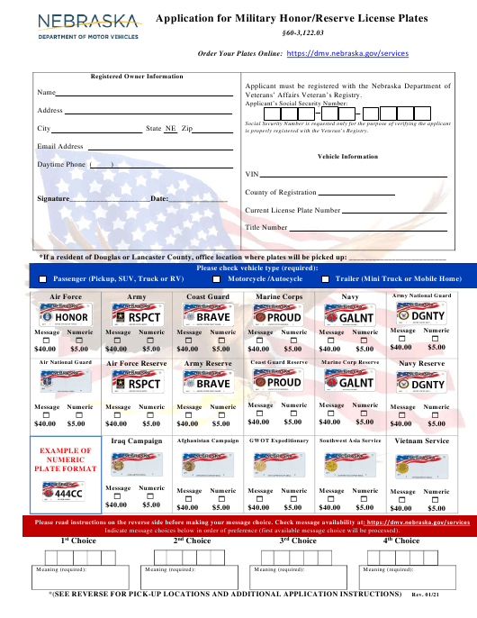 """Application for Military Honor/Reserve License Plates"" - Nebraska Download Pdf"