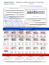 """Application for Military Honor/Reserve License Plates"" - Nebraska"
