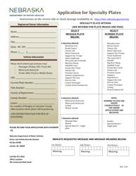 """""""Application for Specialty Plates"""" - Nebraska"""