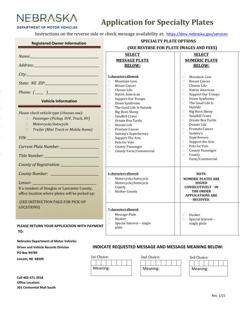 """Application for Specialty Plates"" - Nebraska Download Pdf"