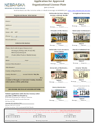"""Application for Approved Organizational License Plate"" - Nebraska"