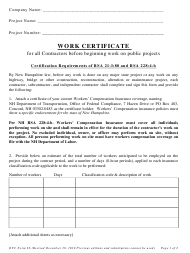 "OFC Form 26 ""Work Certificate"" - New Hampshire"