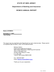 """Annual Report - Worker's Compensation Managed Care Organization"" - New Jersey, 2020"