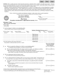 "Form 10079 ""Plea Form"" - New Jersey (English/Polish)"