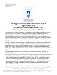 "Form 10517 ""Civil Case Information Statement (Cis) - Pro Se"" - New Jersey (English/Polish)"