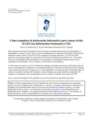 "Form 10517 ""Civil Case Information Statement (Cis) - Pro Se"" - New Jersey (English/Spanish)"