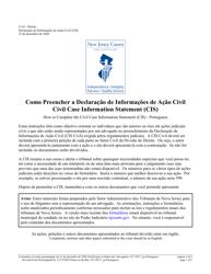 "Form 10517 ""Civil Case Information Statement (Cis) - Pro Se"" - New Jersey (English/Portuguese)"