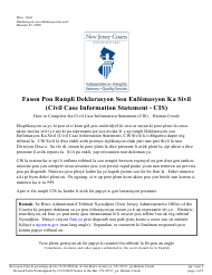 "Form 10517 ""Civil Case Information Statement (Cis) - Pro Se"" - New Jersey (English/Haitian Creole)"