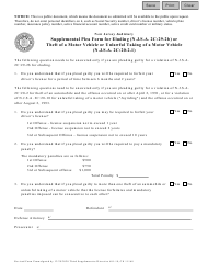 """Form 11168 """"Supplemental Plea Form for Eluding (N.j.s.a. 2c:29-2b) or Theft of a Motor Vehicle or Unlawful Taking of a Motor Vehicle (N.j.s.a. 2c:20-2.1)"""" - New Jersey"""